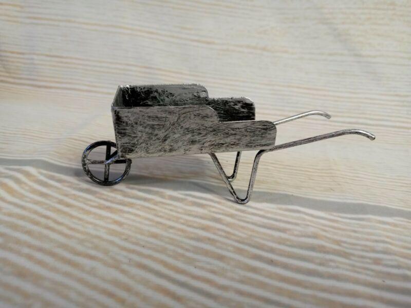 New! Metal Wheelbarrow Farmhouse Ornament Christmas Country Tier Tray Decor