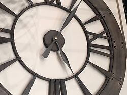 MEDITERRANEAN 40 DARK RUSTIC ROUND WALL CLOCK ROMAN NUMBERS RUST GRAY FRAME
