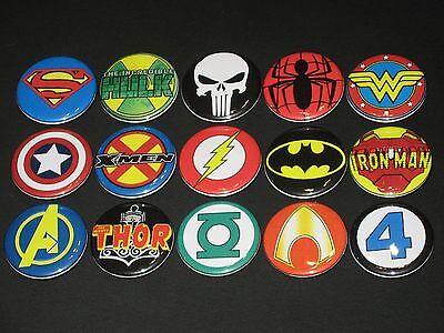 Super Heroes Logos / Symbols Buttons/ Pins 15