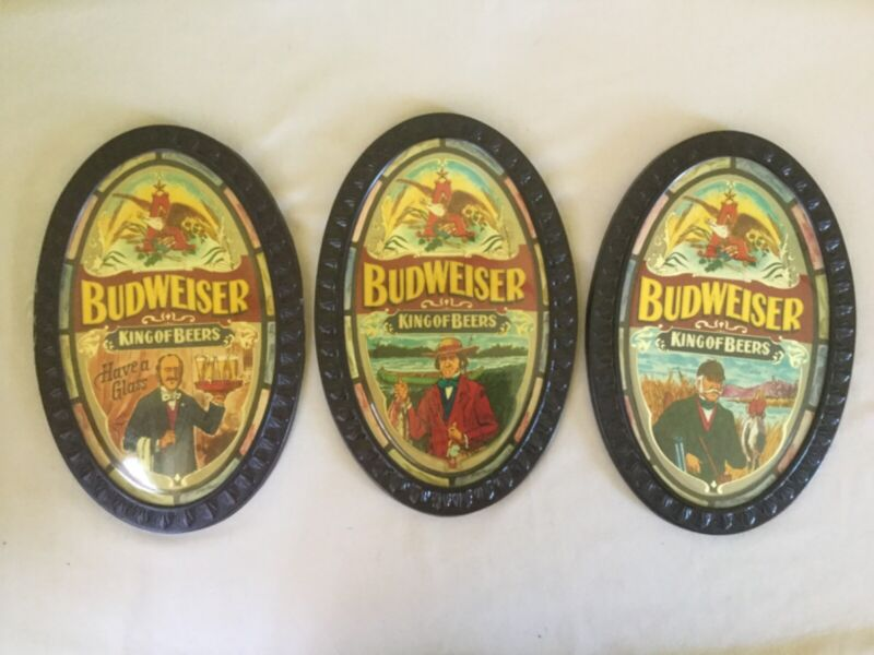 Lot of 3 Vintage Budweiser King of Beers Oval Signs
