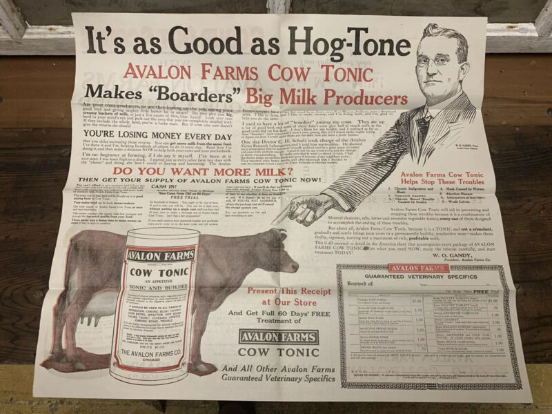 Vintage Avalon Farms Cow Tonic Paper Advertising Old Dairy Vet Cattle Frame It