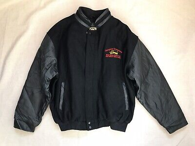 Vintage 90s XL Gangster Enterprises Wool Leather Bomber Jacket North End Trucker