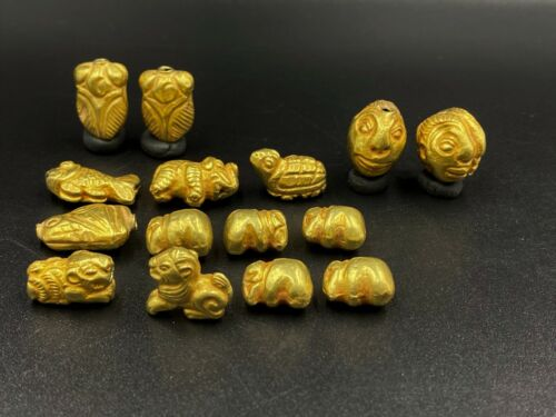 Old Antique Ancient Gold Animals figures Beads from Pyu Period South east Asia
