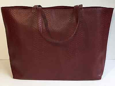 Bloomingdales Large Shopper Tote Bag Faux Leather In Wine Red Lined Packable