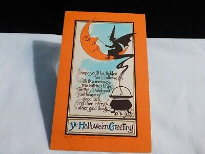 SCARCE Vintage Halloween Postcard- Witch Tickling Moon's Nose-By Carpenter