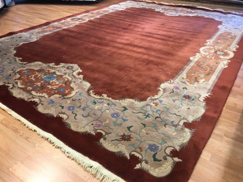 Natural Nichols - 1920s Antique Chinese Rug - Art Deco Carpet - 9.10 X 13.8 Ft