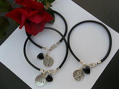 3 Ct  Melanoma Skin Cancer Awareness Black  Leather Charm Bracelets W Heart Bead