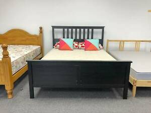 TODAY DELIVERY WOODEN Double bed & mattress STRONG MODERN BLACK