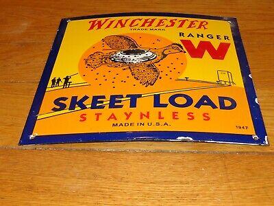VINTAGE 1947 WINCHESTER RANGER W SKEET LOAD AMMUNITION PORCELAIN METAL GAS SIGN!