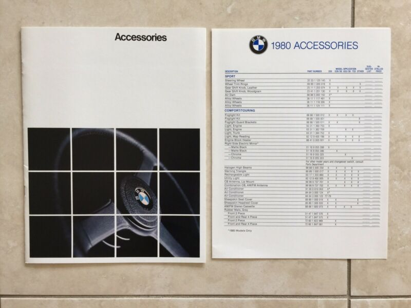 NEW 1979 1980 BMW Accessories Brochure Catalog. Part Numbers.