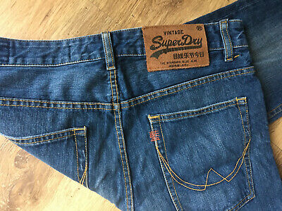 "Mens Superdry Vintage The Standard Blue Jeans W34"" L36"" Straight Leg READ!"