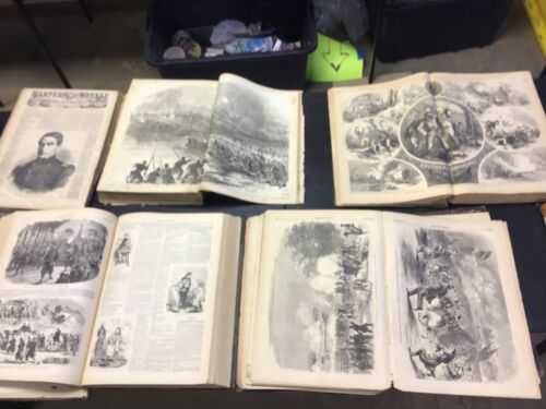 1859,1861,1861,1862,1863 HARPER'S WEEKLY,BOUNDED BOOKS,ANTIQUE CIVIL WAR PRINTS