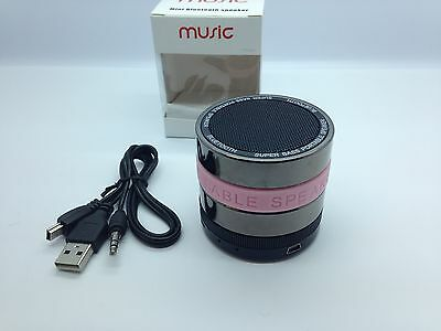 LOT OF 25 NEW ROUND BLUETOOTH SPEAKER PORTABLE STEREO WIRELESS UNIVERSAL PINK