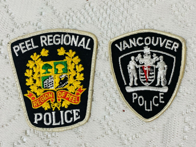 2 VINTAGE CANADIAN PEEL POLICE & VANCOUVER POLICE PATCHES (3C/12)