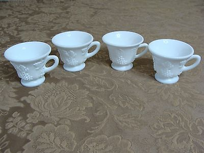 4 Vintage White Milk Glass Cups With Grape Pattern
