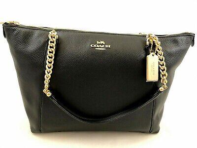 New Authentic Coach F87775 Leather Ava Chain Tote Handbag Purse Black