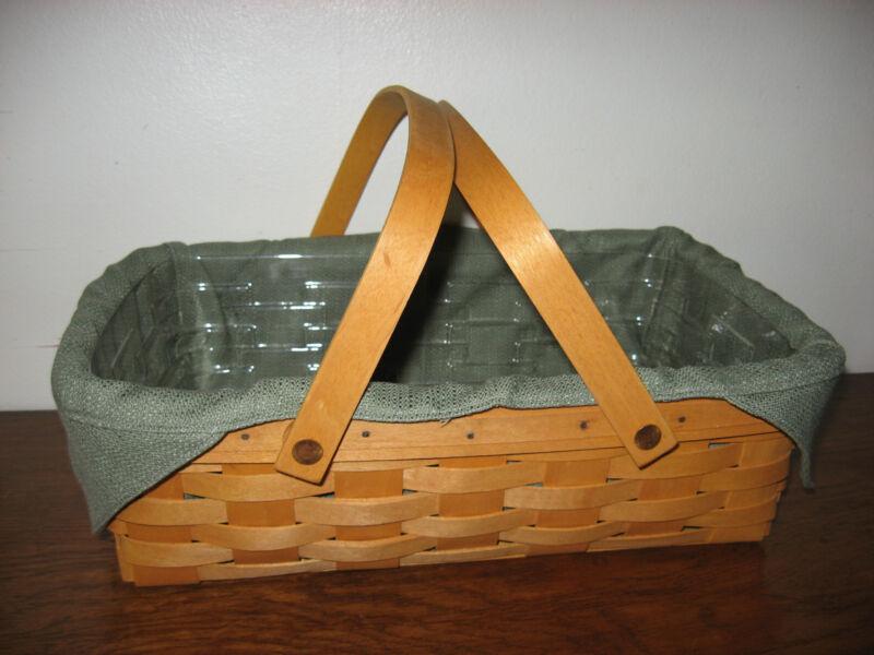 Longaberger Toboso Plaid Medium Oval Gathering Basket Liner New