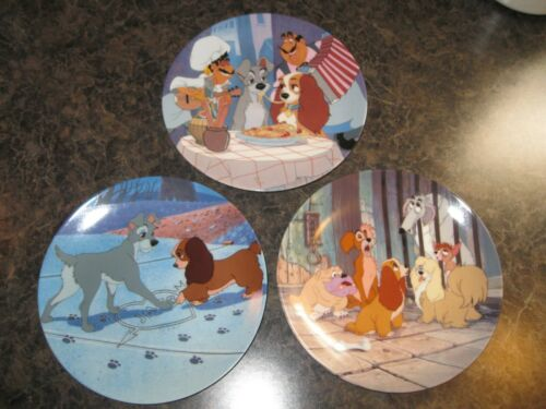 Knowles Collector Plates Set of 3 ~ Disney LADY & THE TRAMP 1st 2nd & 3rd issues