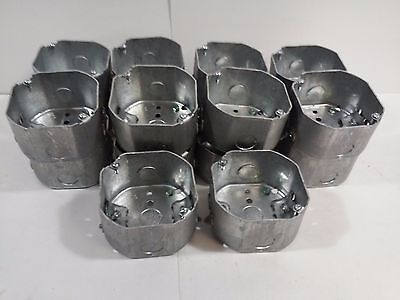 Steel City 4 Octagon Boxes 2-18 Deep With Romex Clamps 54171-n Lot Of 18