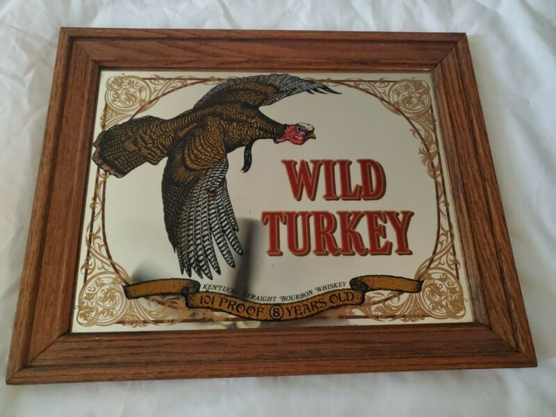 Vintage WILD TURKEY 101 Proof Kentucky Bourbon framed mirror sign