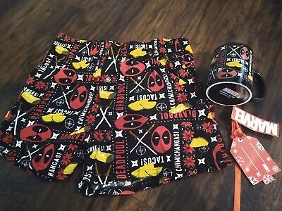 Marvel Deadpool Chimichangas Christmas Holiday Boxer Shorts With Mug New Medium