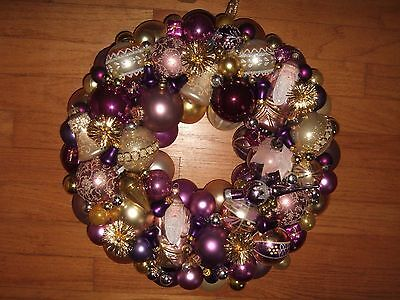 "vintage handmade christmas ornament wreath purple 17.5"" glass holiday decor"