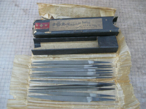 "VTG NOS American Swiss File & Tool Co 1 Set Die Files 3-1/2"" No 2 Jewelry tools"