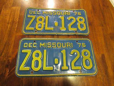 DEC 1976 Missouri License Plates, Z8L-128