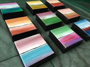 Acrylic Seascape small paintings set of 9 Canvases Wall Art