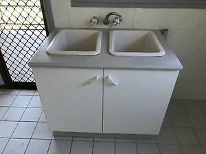 3 matching Laundry Cabinets. 1 with Double China Sinks Carina Brisbane South East Preview