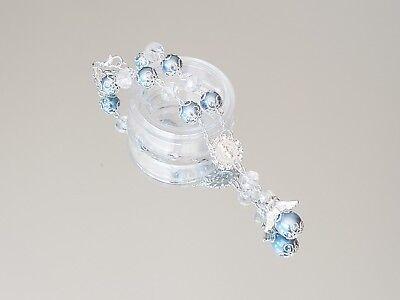 Baby Rosary Bracelet (12X Baptism Baby Blue Sliver Cystal Angel Rosary Bracelet Bautizo Communion)