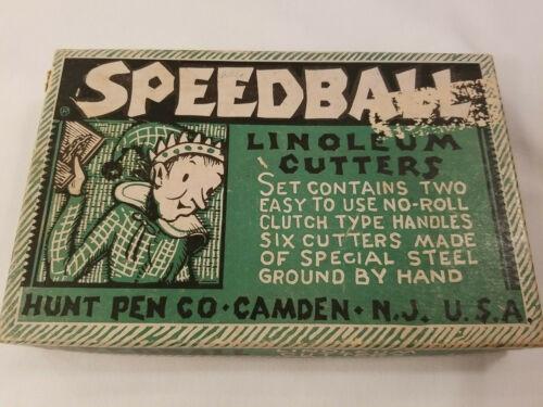 SPEEDBALL Linoleum Cutters Vintage 6 Cutters In Original Box Hunt Pen, Camden EE