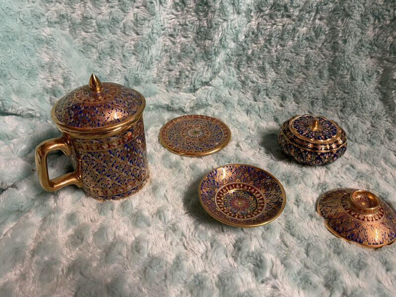 7pc Thai Benjarong Exquisite Hand Paint Art Mug Cup Coffee Tea SET Trinket Box