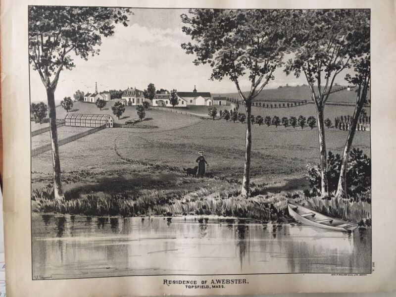 Residence of A. Webster, Topsfield, Mass Lithograph 1884