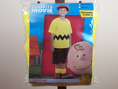 Peanuts Movie Charlie Brown Deluxe Halloween Costume Boys Size 3-4T, 4-6 **NEW**
