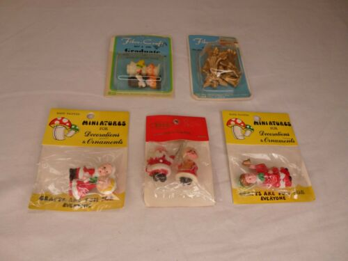 Lot of 5 Vintage Craft Miniatures Christmas Graduation Fibre Craft, SSCO, Sealed