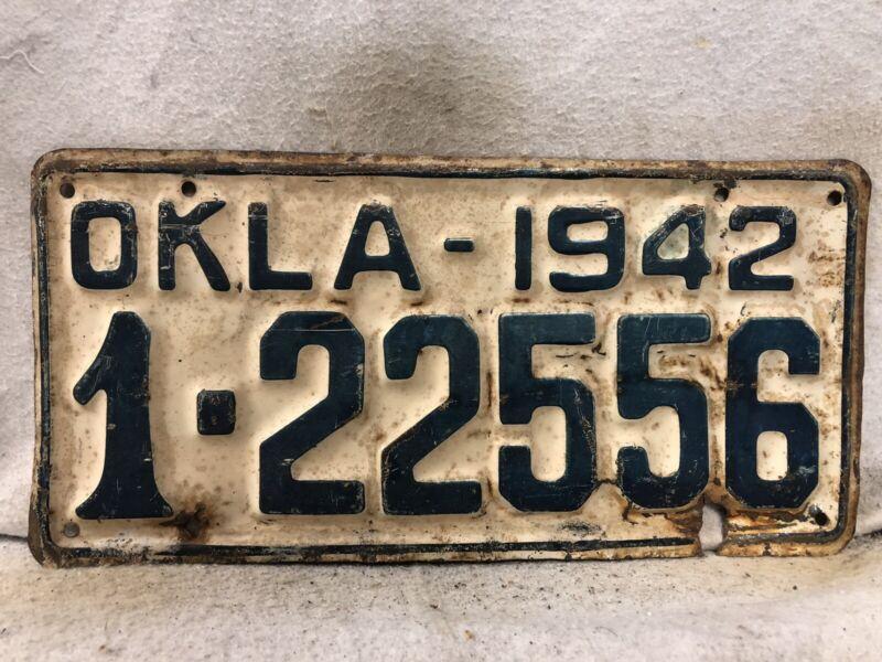 Vintage 1942 Oklahoma License Plate