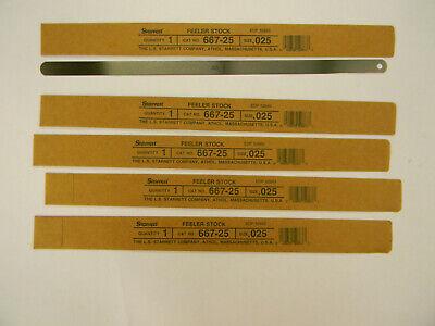 New Lot Of 5 Starrett Steel Feeler Gage 0.025 12x12 667-25 E5