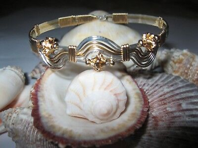 Sterling silver gold-filled hand wire-wrapped scallop shell and wave bracelet