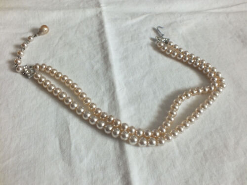 """Beautiful Necklace Silver Tone Clasp Off White Faux Pearls Dble Strand 12-14"""""""