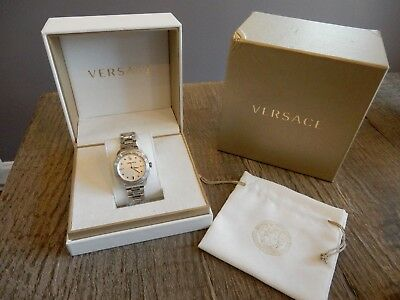 $1395 New Versace Metallic Stainless steel Medusa Dylos Watch, VQD040015 35mm