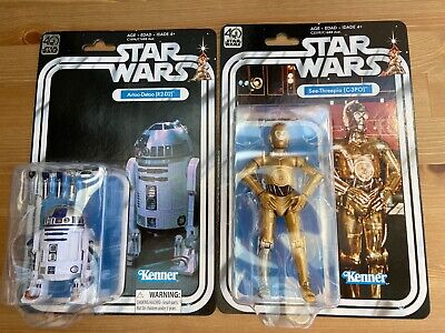 Star Wars 40th Anniversary Black Series Vintage-Style 6-inch R2-D2 & C-3PO MOC