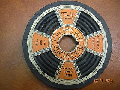 New Old Stock Antique Boye Black Leather Sewing Machine Belt - needle shuttle