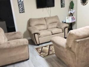 Front room set, dinner set, show case & coffee tables