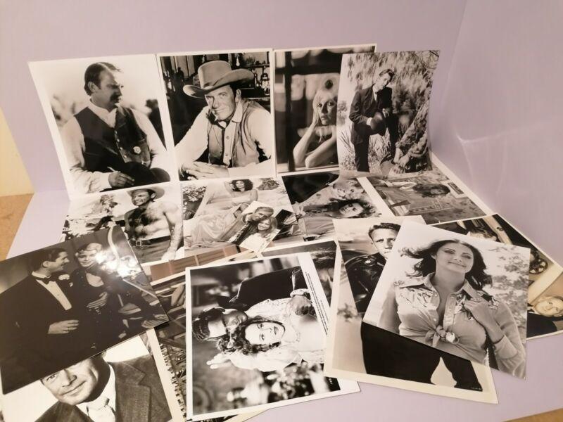 Joblot of 20 glossy black and white movie press photos 1950s to modern