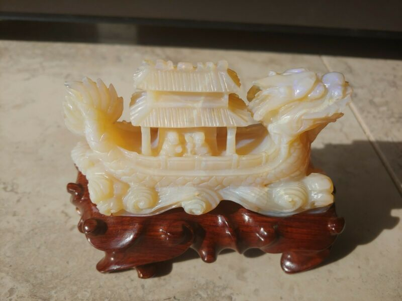 Antique Chinese Honey Opal Statue