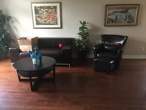 Round coffee table, couch, chair and stool