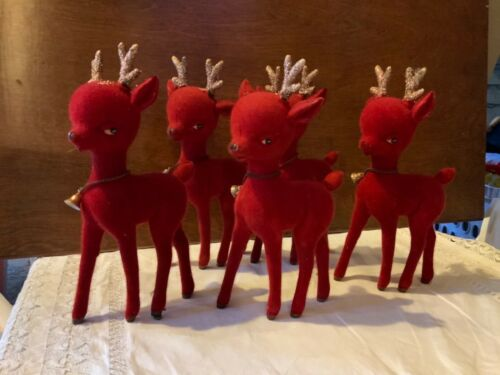 "5 Vintage 10"" Red Flocked Round Head Reindeer Christmas Decoration Mid Century"
