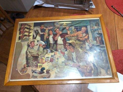 Vintage 1954 Western Winchester Ammo duck decoy hunting cabin framed advertising