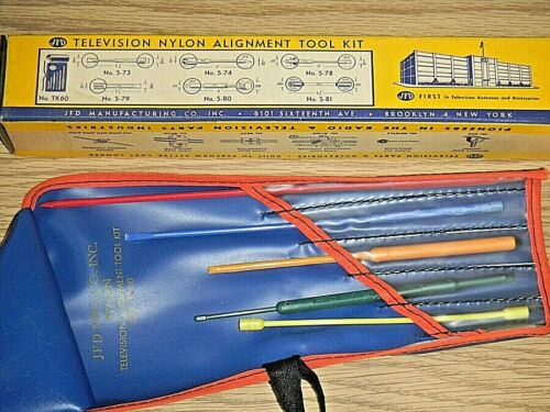 Vintage JFD TK60 Television Repair Tool - Nylon Alignment Tool Kit 6 Pcs w/ Case